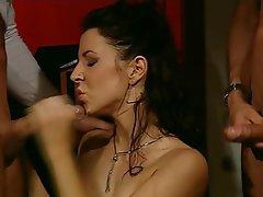Anal, Brunette, Double Penetration, Stockings