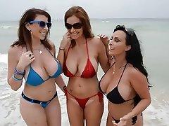 Beach, Big Boobs, Hardcore, MILF, Threesome